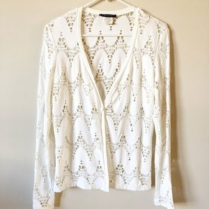 Vintage Casadei Crochet Eyelet Button Cardigan